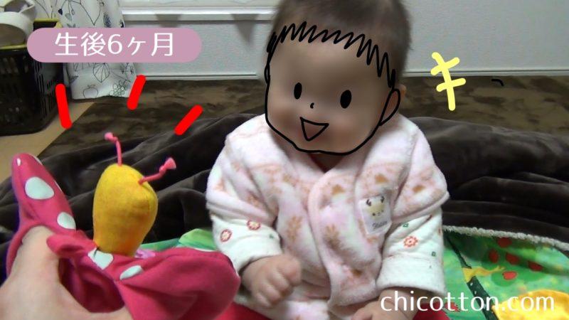 パペットと遊ぶ赤ちゃん