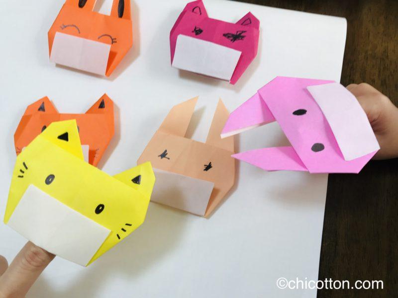 マスクをした猫とウサギの折り紙