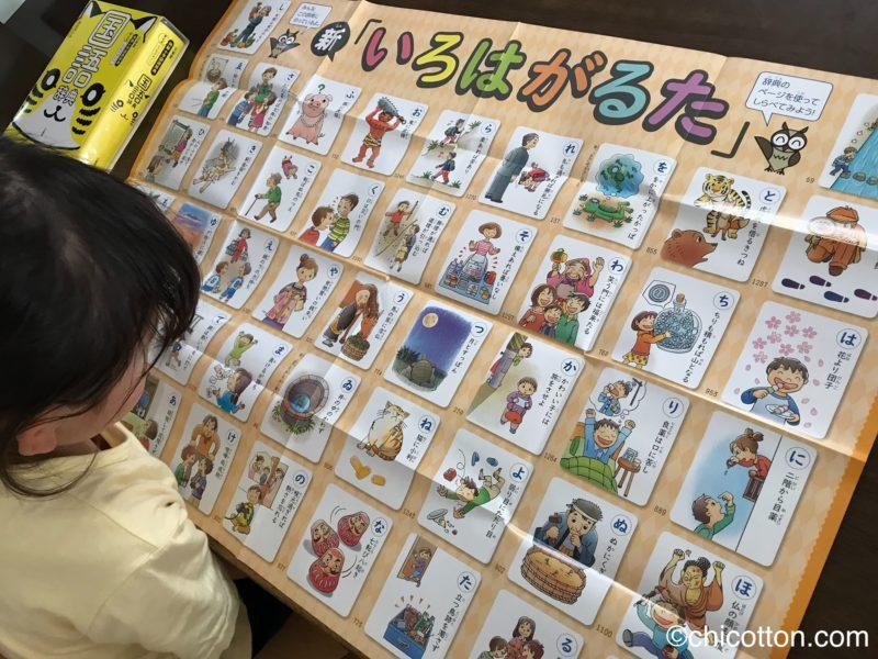 辞書付録のいろはポスターを見る子供