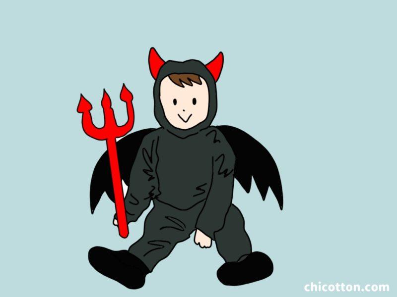 悪魔の仮装をした子供