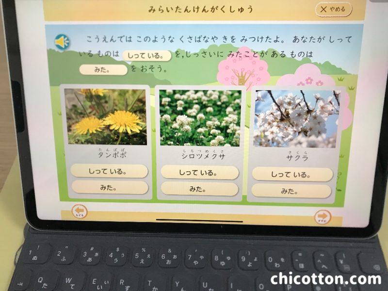 Z会小学講座タブレットコース画面