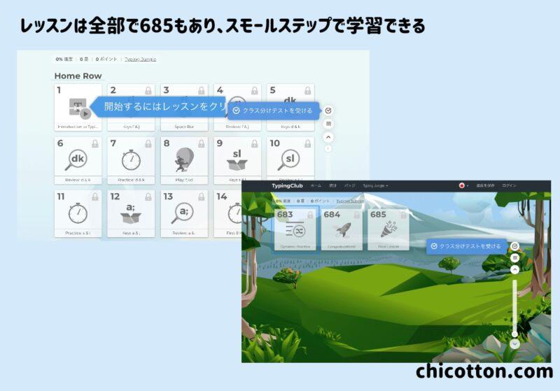 typing clubのステージ画面