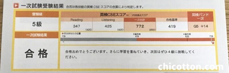 英検5級の合格証